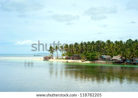 Aerial view on traditional Philippines fisherman village . Calicoan Island
