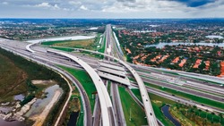 Aerial view on US Roads and Highways System at South Florida. Top view on Florida Turnpike North Bond.