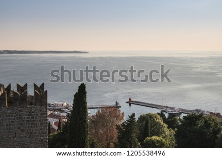 aerial view on village of Piran on adriatic coastline and croatian coastline, slovenia #1205538496