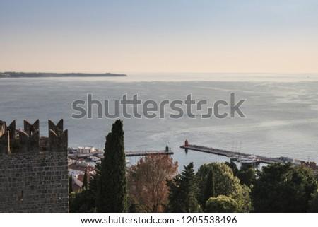 aerial view on village of Piran on adriatic coastline and croatian coastline, slovenia #1205538496