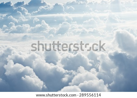 Aerial view on white fluffy clouds Stock photo ©