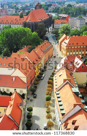Aerial view on Wroclaw street. Poland
