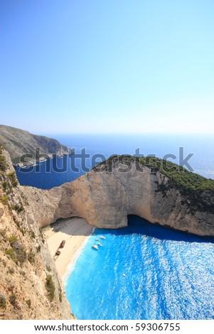 Aerial view on Zakynthos Greece - shipwreck navagio beach - stock photo