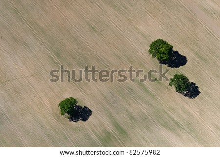 Aerial view over agricultural fields