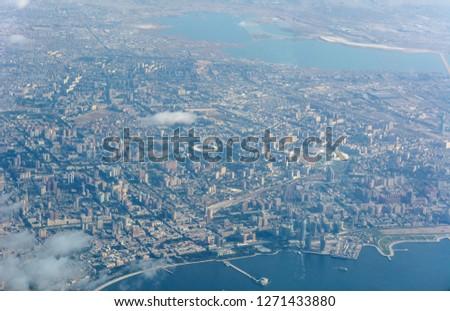 Aerial view over Baku, the capital of Azerbaijan.