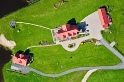 aerial view over beautiful cottage