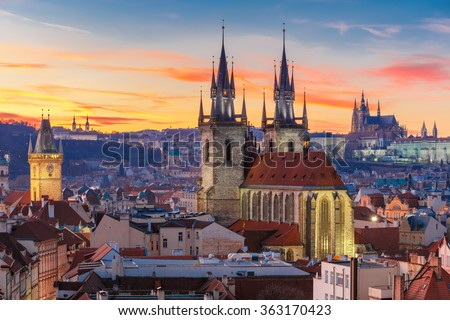 Aerial view over Church of Our Lady before Tyn, Old Town and Prague Castle at sunset in Prague, Czech Republic  #363170423