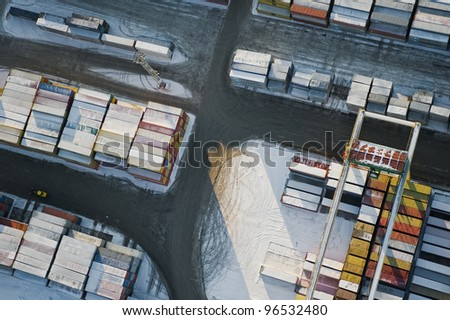 aerial view over container's terminal
