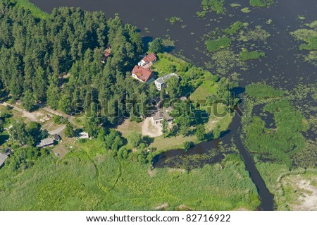 aerial view over countryside