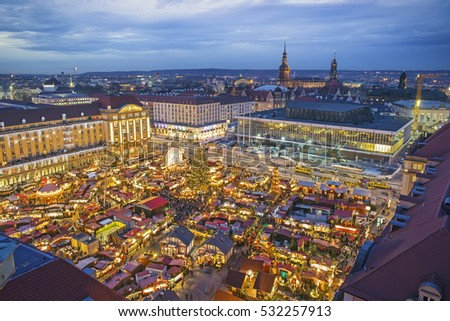 Aerial view over Dresden and Striezelmarkt Christmas market at night, Germany #532257913