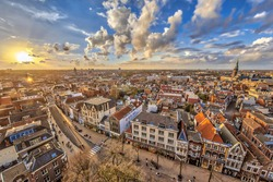 Aerial View over historic part of Groningen city at sunset