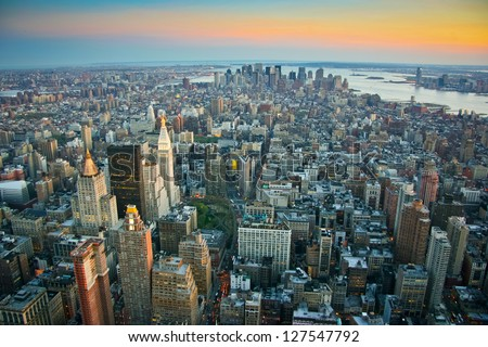 Aerial view over lower Manhattan, New York at sunset