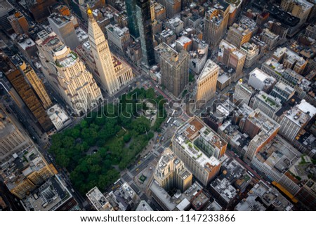 Aerial view over Madison Square Park in Midtown Manhattan, New York. #1147233866