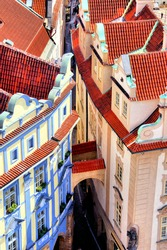 Aerial view over medieval houses of the Old Town of Prague, Czech Republic