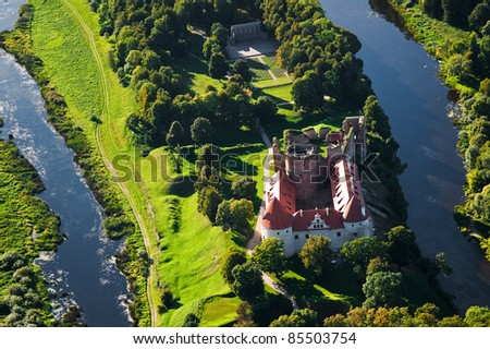 Aerial view over old Bauska castle - stock photo
