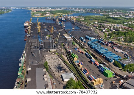 Aerial view over port of Riga