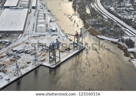 aerial view over Riga industrial port