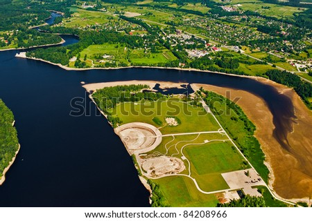 aerial view over river and peninsula