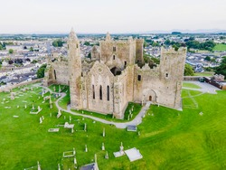 Aerial view over Rock of Cashel. A magnificent historic site located at Cashel, County Tipperary, Ireland.