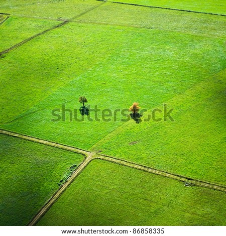 aerial view over rural landscape in autumn
