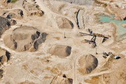 Aerial view over sandpit