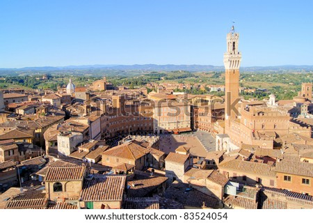 Aerial view over Siena including Il Campo from the top of the unfinished Duomo