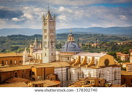 Aerial view over Siena Siena Cathedral Italy