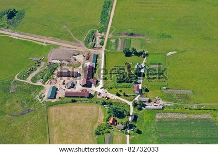 aerial view over small farm