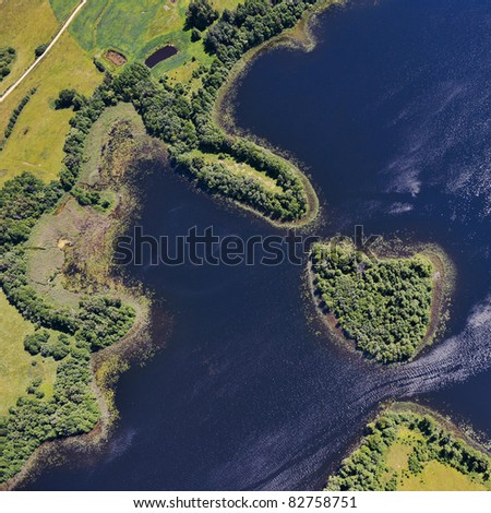 Aerial view over small pools