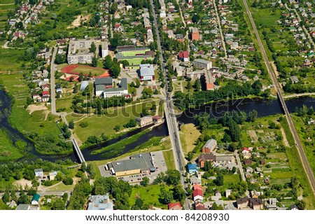 Aerial view over small village
