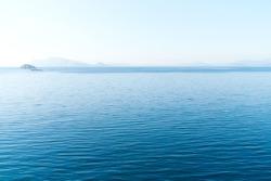 Aerial view over the Aegean sea near Hydra island, Greece
