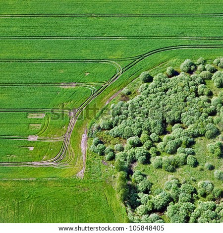 aerial view over the agricultural fields