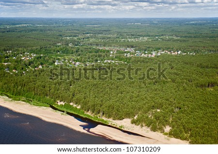aerial view over the baltic coast at the Riga Gulf