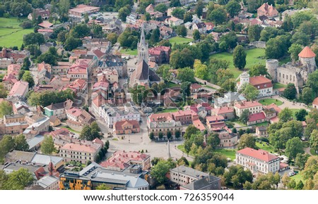 aerial view over the Cesis city #726359044