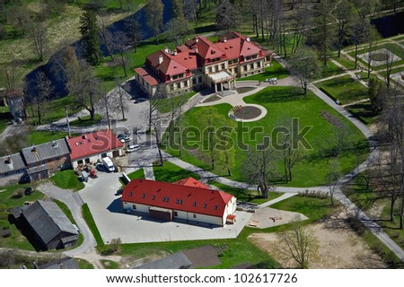 aerial view over the Dikli palace