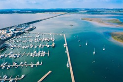 Aerial view over the harbour in the irish town of Malahide, Dublin county, Ireland. Beautiful summer view over the irish coastline