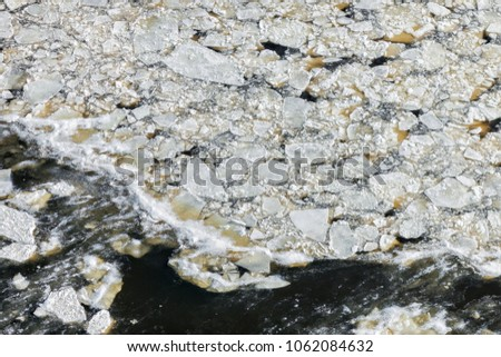 Aerial view over the icy coast of Riga Gulf #1062084632