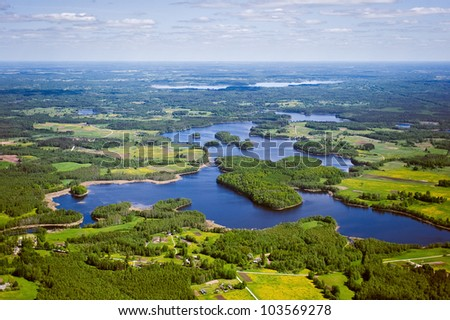 aerial view over the lakes