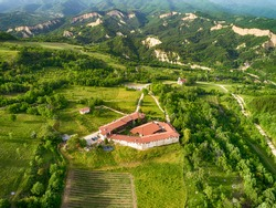 Aerial view over The Medieval Orthodox Rozhen Monastery near Melnik, Bulgaria. Nativity of the Mother of God church