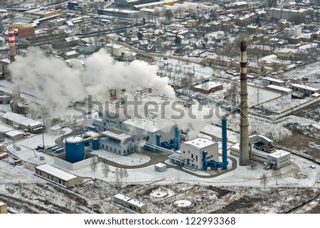 aerial view over the Riga power station