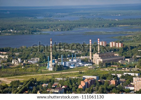 Aerial view over the Riga thermal power plant