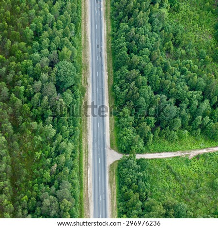 aerial view over the road #296976236