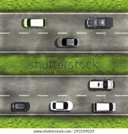 Aerial view over the road and highway