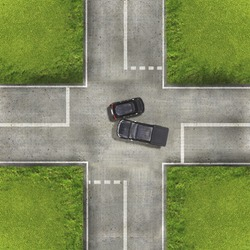 Aerial view over the road and highway, Accident car crash