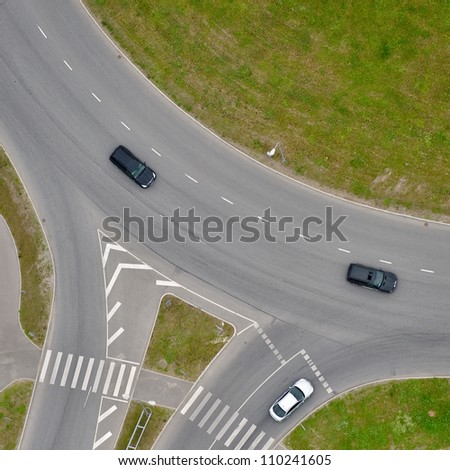 aerial view over the road intersection