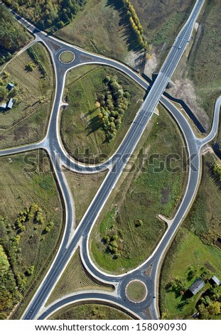 aerial view over the road intersection #158090930