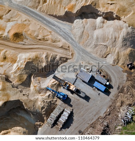 Aerial view over the sandpit