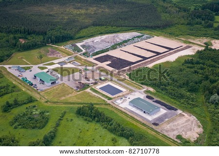 aerial view over the waste dump and recycling center