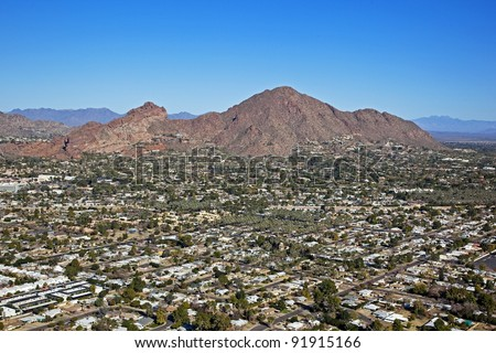 Aerial view over upscale suburban neighborhoods at Camelback Mountain