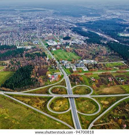 Aerial view over Valmiera town
